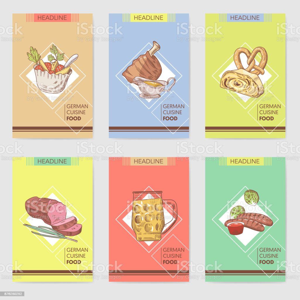 German Traditional Food Hand Drawn Brochure Templates Germany - Food brochure templates