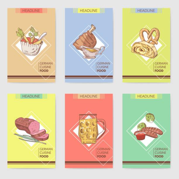 traditionelle deutsche speisen wie von hand gezeichnet broschüre vorlagen. deutschland-küche-menükarten. essen und trinken. vektor-illustration - sauerkraut stock-grafiken, -clipart, -cartoons und -symbole