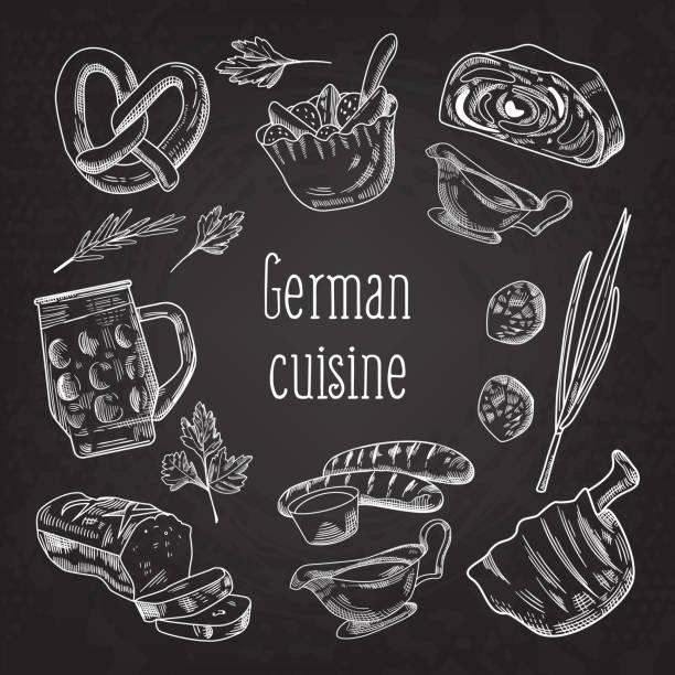 traditionelle deutsche speisen wie von hand gezeichnet tafel doodle. deutschland-cuisine-menü-vorlage. essen und trinken. vektor-illustration - sauerkraut stock-grafiken, -clipart, -cartoons und -symbole
