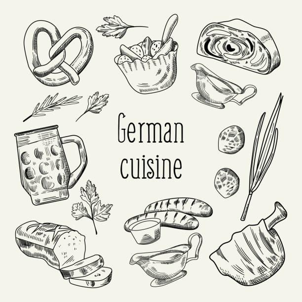 traditionelle deutsche küche hand gezeichneten umriss doodle. deutschland-cuisine-menü-vorlage. essen und trinken. vektor-illustration - sauerkraut stock-grafiken, -clipart, -cartoons und -symbole