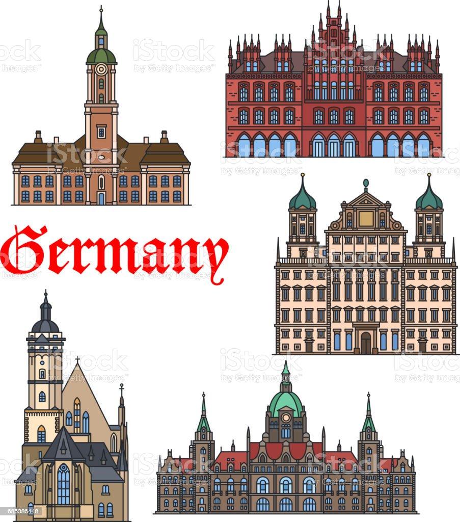 German travel landmark thin line icon set