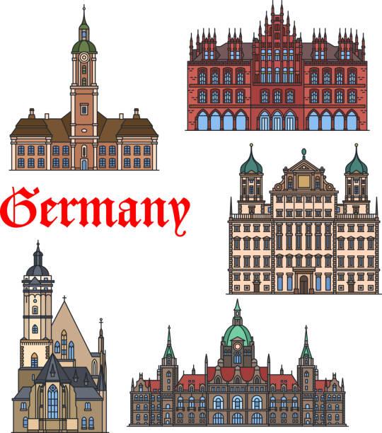 Deutsche Wahrzeichen-dünne Linie-Icon-set – Vektorgrafik