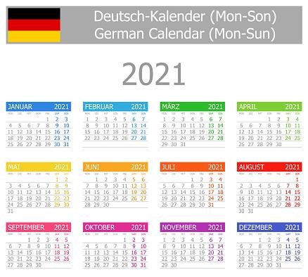 2021 German Type-1 Calendar Mon-Sun