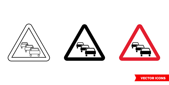 German warning sign traffic queue icon of 3 types color, black and white, outline. Isolated vector sign symbol