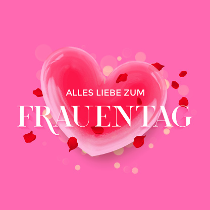 German Women Day Frauentag 3d heart and flower petals blossom greeting card for wedding, Valentine love holiday, Women Day or 8 March and Birthday greeting card. Vector heart of crystal glass design template
