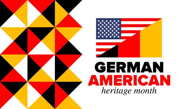 독일-미국 문화유산의 달. 해피 홀리데이는 10 월에 매년 축하합니다. 독일과 미국 국기. 문화의 달. 애국적인 디자인. 포스터, 카드, 배너, 템플릿. 벡터 일러스트레이션 - 독일 문화 stock illustrations