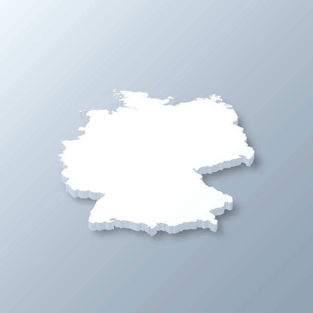 niemcy mapa 3d na szarym tle - niemcy stock illustrations