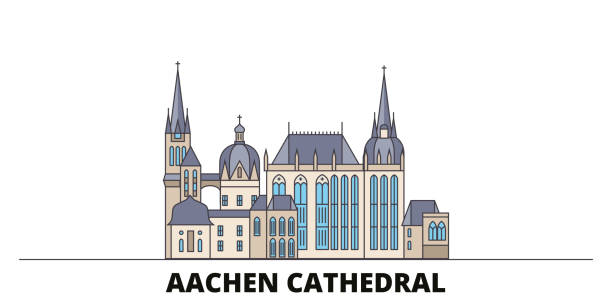 Germany, Aachen Cathedral flat landmarks vector illustration. Germany, Aachen Cathedral line city with famous travel sights, skyline, design. Germany, Aachen Cathedral flat landmarks vector illustration. Germany, Aachen Cathedral line city with famous travel sights, design skyline. lachen stock illustrations