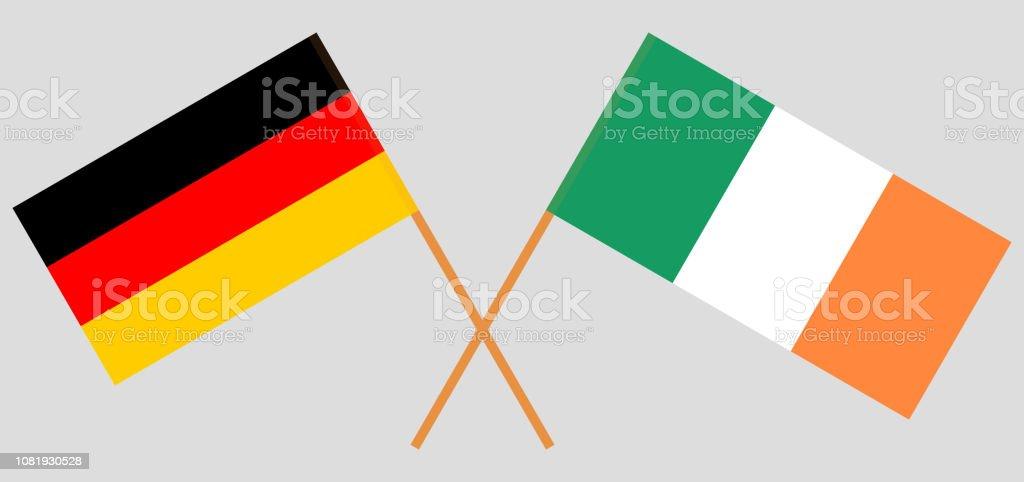 Alemania e Irlanda. Las banderas alemana e irlandesa. Colores oficiales. Proporción correcta. Vector de - ilustración de arte vectorial