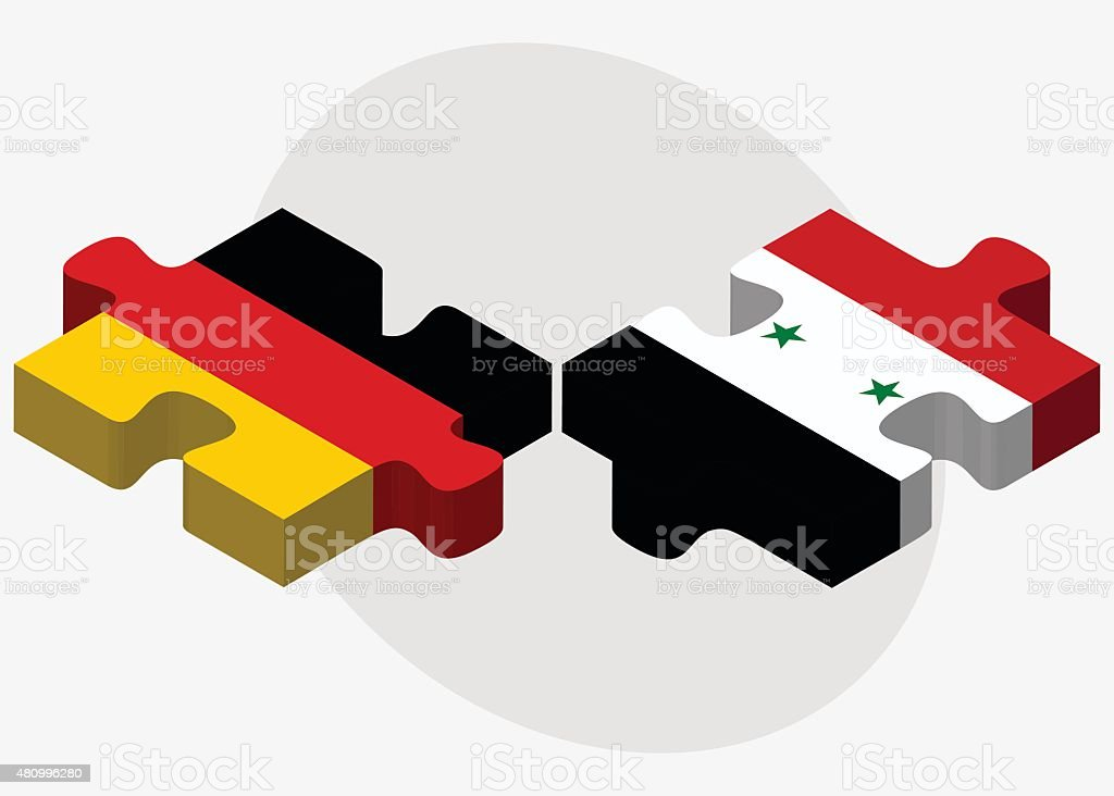 Germany and Syria Flags vector art illustration