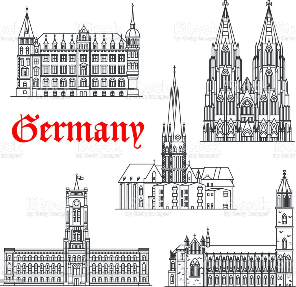 Germany architecture buildings vector icons vector art illustration