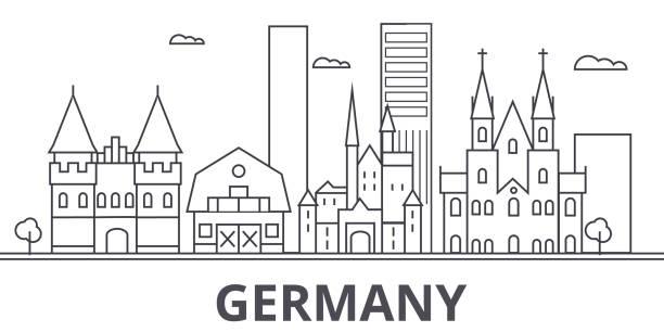 bildbanksillustrationer, clip art samt tecknat material och ikoner med tyskland arkitekturen linje skyline illustration. linjär vektor stadsbild med berömda landmärken, sevärdheter, designikoner. landskap med redigerbara stroke - berlin street