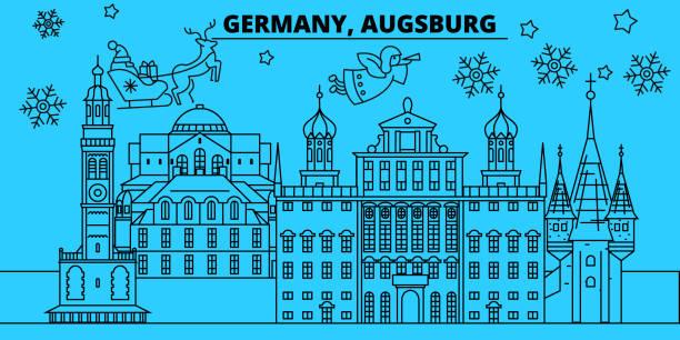 Deutschland, Augsburg Winter Urlaub Skyline. Merry Christmas, Happy New Year dekoriert Banner mit Santa Claus.Germany, Augsburg lineare Weihnachten Stadt flach Vektorgrafik – Vektorgrafik