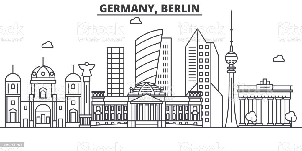 Germany, Berlin architecture line skyline illustration. Linear vector cityscape with famous landmarks, city sights, design icons. Landscape wtih editable strokes vector art illustration