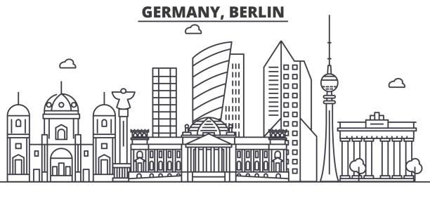 bildbanksillustrationer, clip art samt tecknat material och ikoner med tyskland, berlin arkitektur linje skyline illustration. linjär vektor stadsbild med berömda landmärken, sevärdheter, designikoner. landskap med redigerbara stroke - berlin street