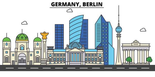 bildbanksillustrationer, clip art samt tecknat material och ikoner med tyskland, berlin. city skyline arkitektur, byggnader, gator, siluett, landskap, panorama, sevärdheter. redigerbara stroke. platt design line vektor illustration koncept. isolerade ikoner set - berlin street
