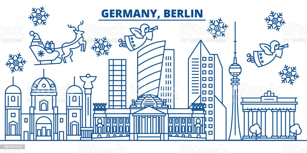 Germany, Berlin winter city skyline. Merry Christmas, Happy New Year decorated banner with Santa Claus.Winter greeting line card.Flat, outline vector.Linear christmas snow illustration vector art illustration