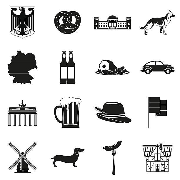 ilustrações de stock, clip art, desenhos animados e ícones de germany black simple icons - berlin wall