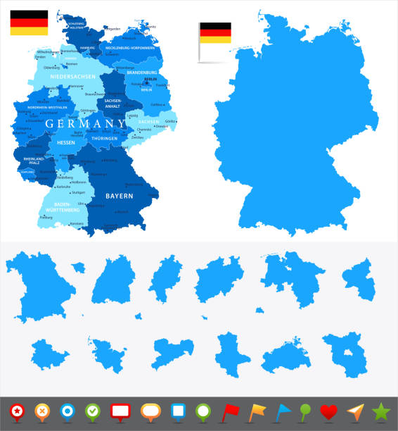 29 - Germany - Blue and Pieces 10 Map of Germany - Vector illustration essen stock illustrations