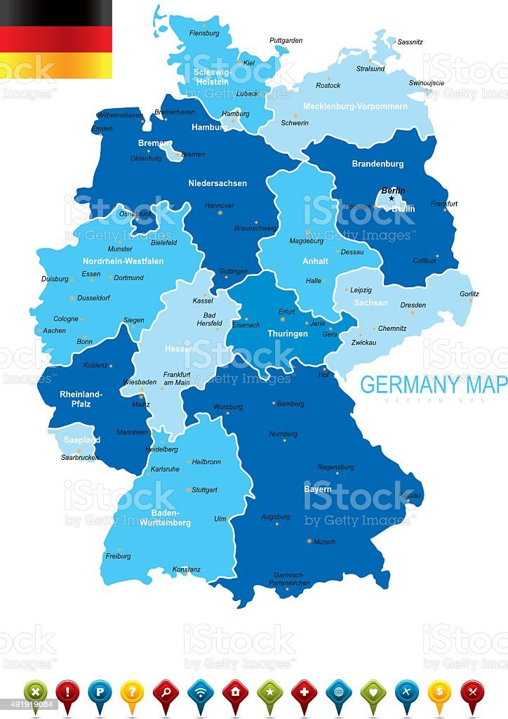Germany Blue Map vector art illustration