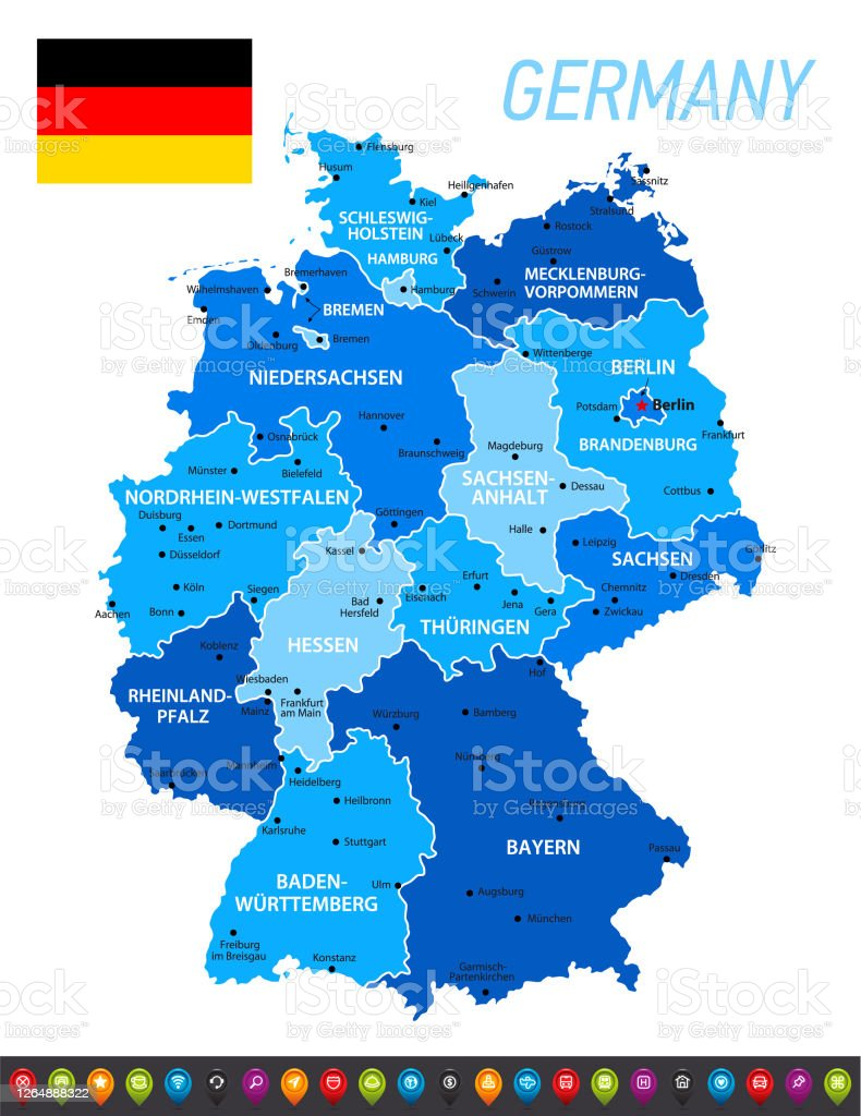 Image of: Germany Blue Map With National German Flag Vector Blue Illustration With Regions Icon Set And Capital Cities Stock Illustration Download Image Now Istock