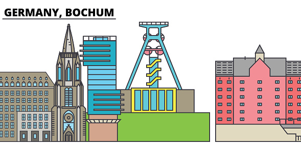 Germany, Bochum. City skyline, architecture, buildings, streets, silhouette, landscape, panorama, landmarks. Editable strokes. Flat design line vector illustration concept. Isolated icons