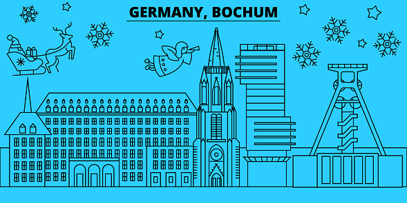 Germany, Bochum winter holidays skyline. Merry Christmas, Happy New Year decorated banner with Santa Claus.Germany, Bochum linear christmas city vector flat illustration
