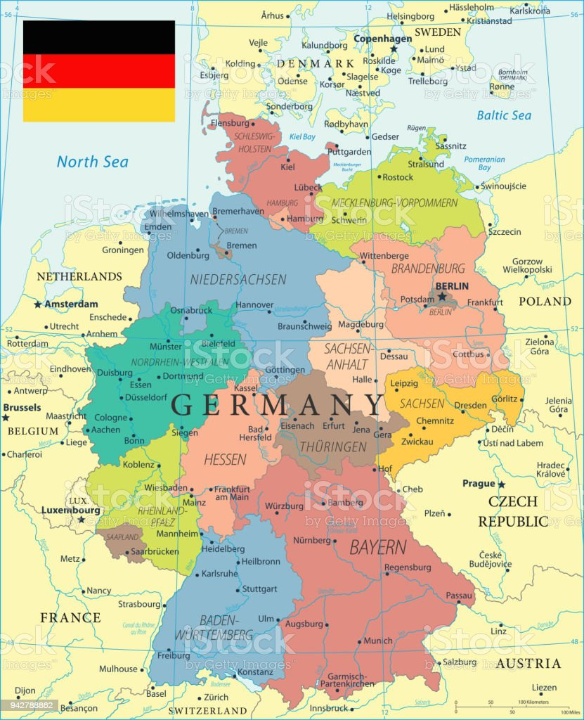 Royalty Free Germany Map Outline Vector And Germany Flag Vector