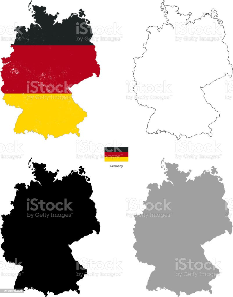 Germany country black silhouette and with flag on background vector art illustration