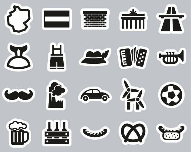 ilustrações de stock, clip art, desenhos animados e ícones de germany country & culture icons black & white sticker set big - berlin wall