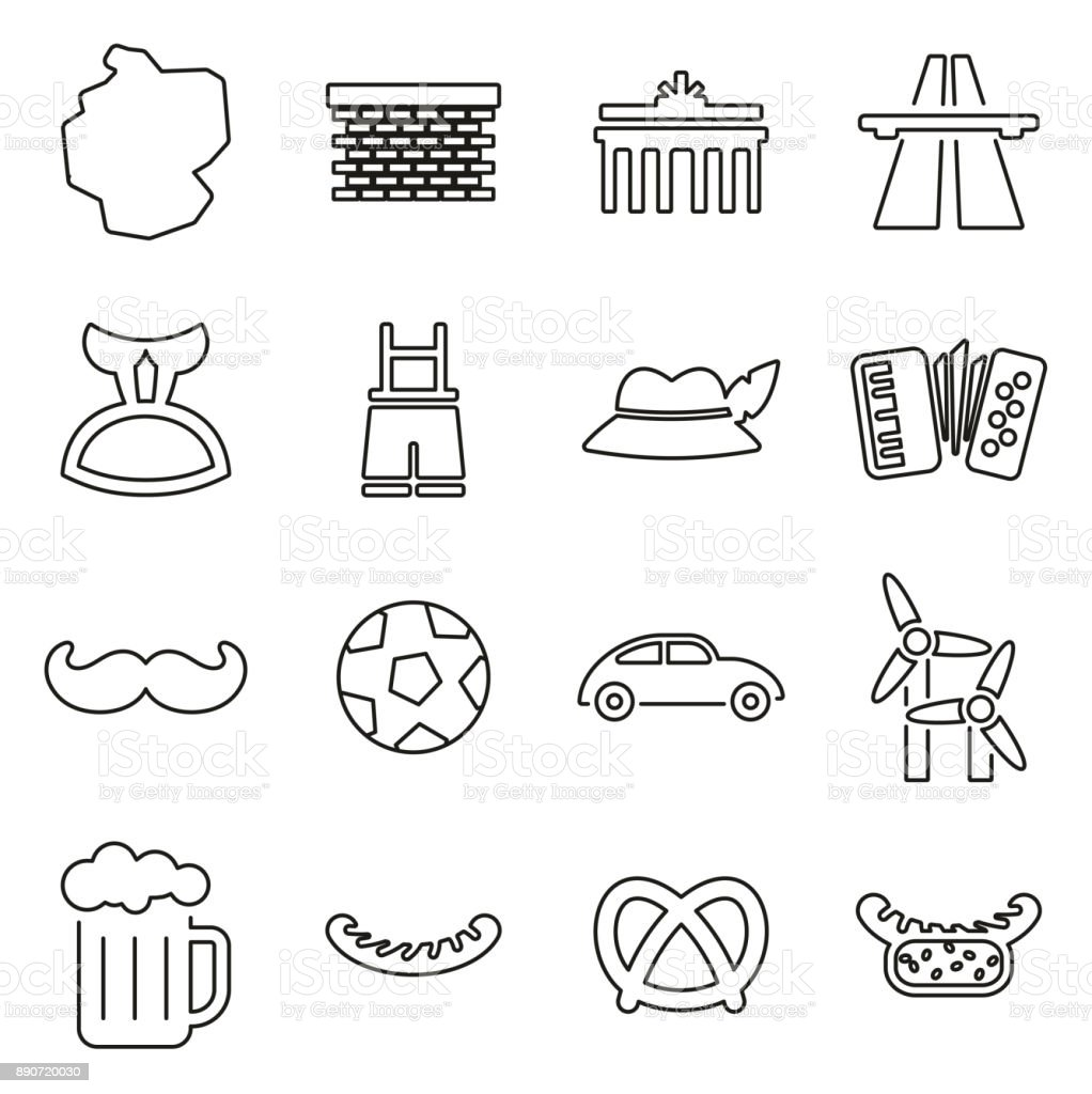 Deutschland-Land & Kultur Icons dünne Linie Vektor-Illustration-Set – Vektorgrafik