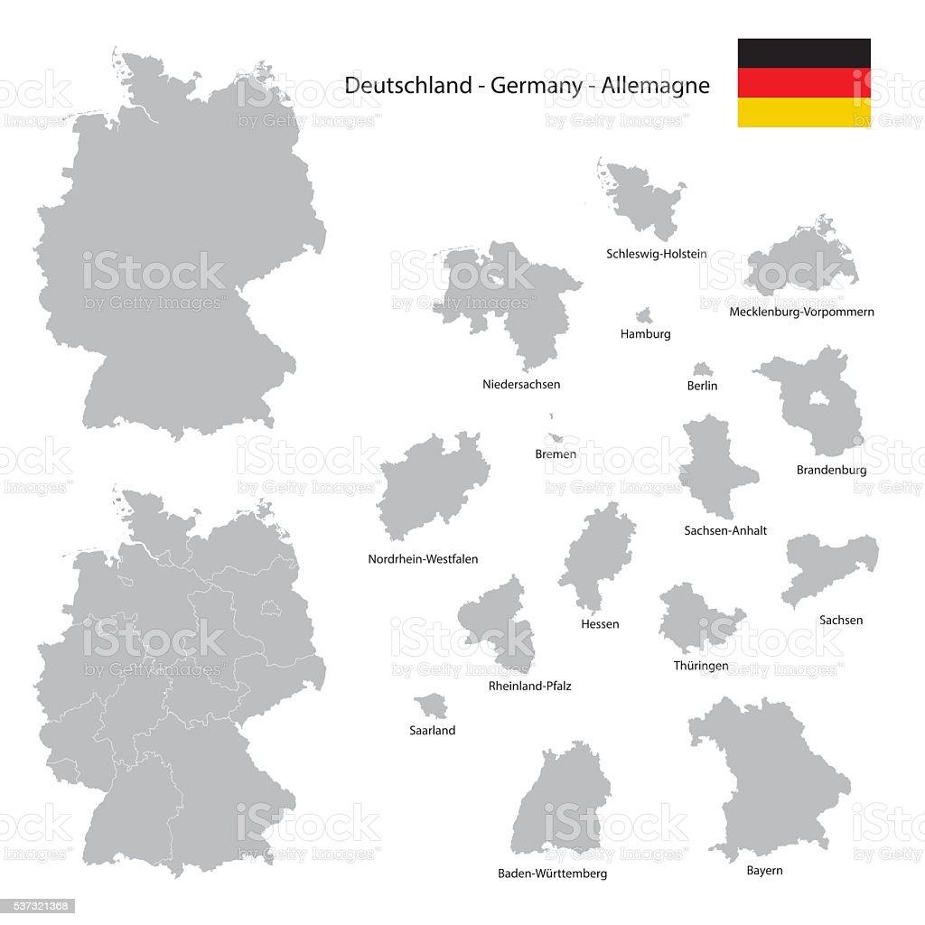 Alemanha país mapa coleção com seperated Estado federal silhuetas - ilustração de arte em vetor