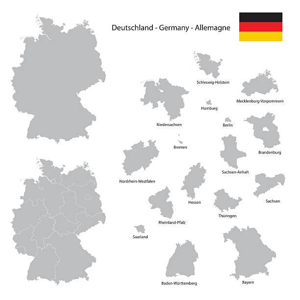 Alemania país mapa colección de siluetas de Estado federal con separados - ilustración de arte vectorial