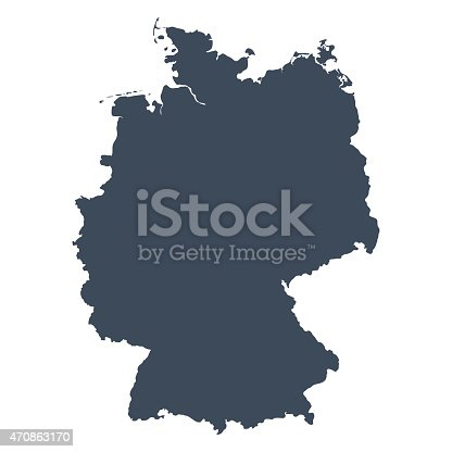 A graphic illustrated vector image showing the outline of the country Germany. The outline of the country is filled with a dark navy blue colour and is on a plain white background. The border of the country is a detailed path.