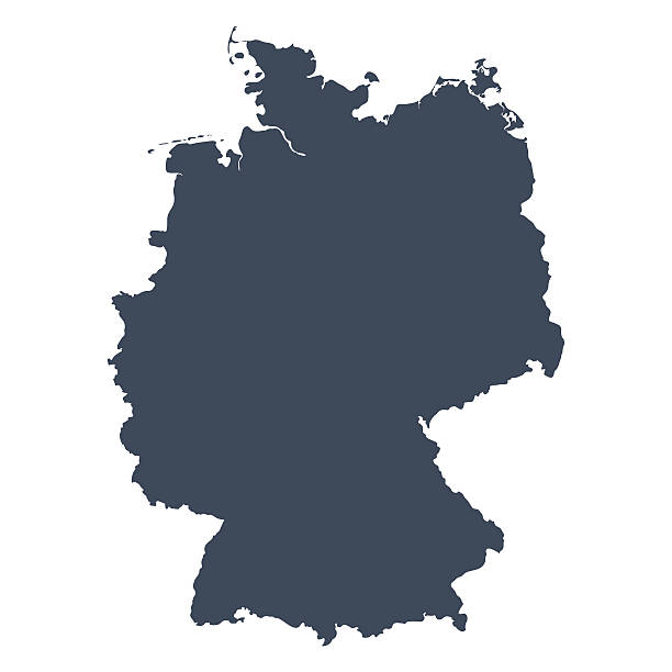 Germany country map A graphic illustrated vector image showing the outline of the country Germany. The outline of the country is filled with a dark navy blue colour and is on a plain white background. The border of the country is a detailed path.  germany stock illustrations