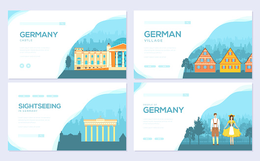Germany country ornament travel tour concept. Traditional monument brochure card set. Ethnic template of flyer, web banner, ui header, enter site. Layout invitation modern slider