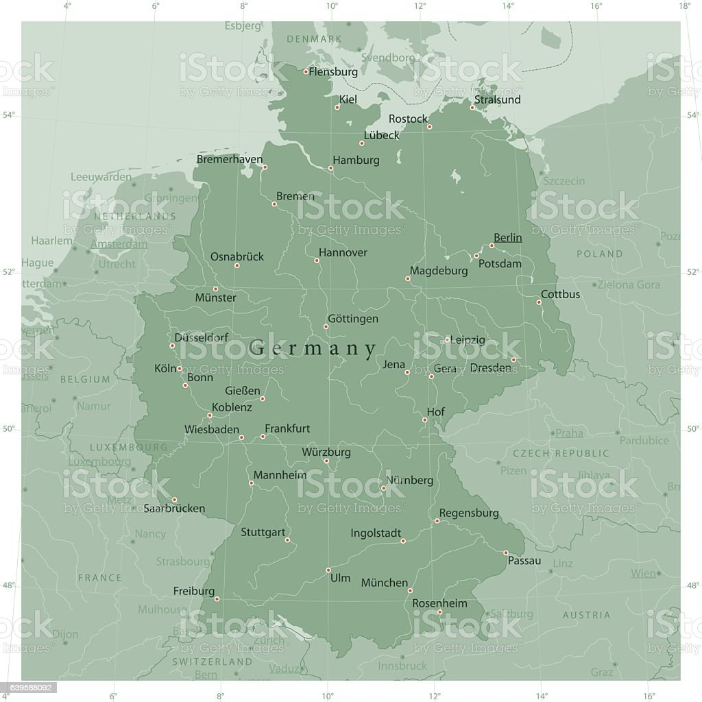 Country Of Germany Map.Germany Country Vector Map Olive Green Stock Vector Art More