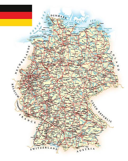bildbanksillustrationer, clip art samt tecknat material och ikoner med germany - detailed map - illustration - berlin street