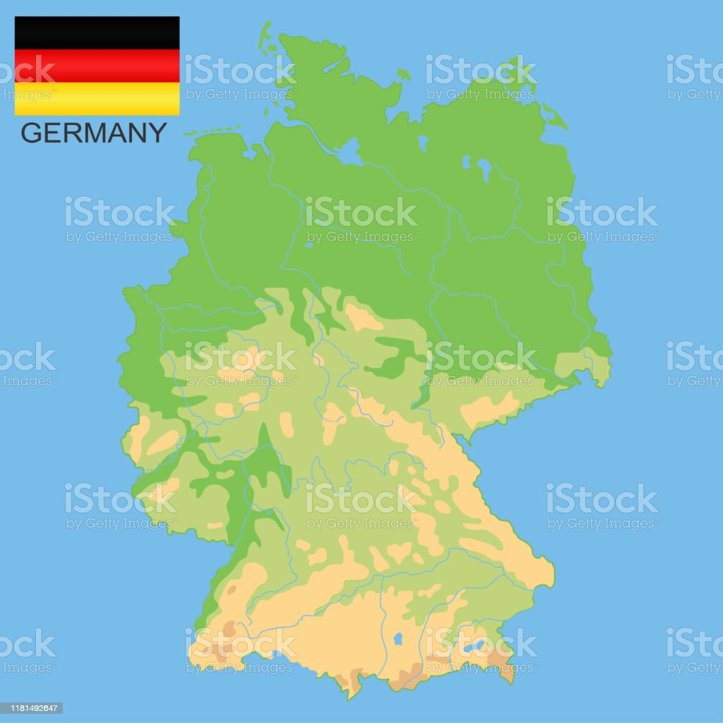 Picture of: Germany Detailed Physical Map Of Germany Colored According To Elevation With Rivers Lakes Mountains Vector Map With National Flag Stock Illustration Download Image Now Istock