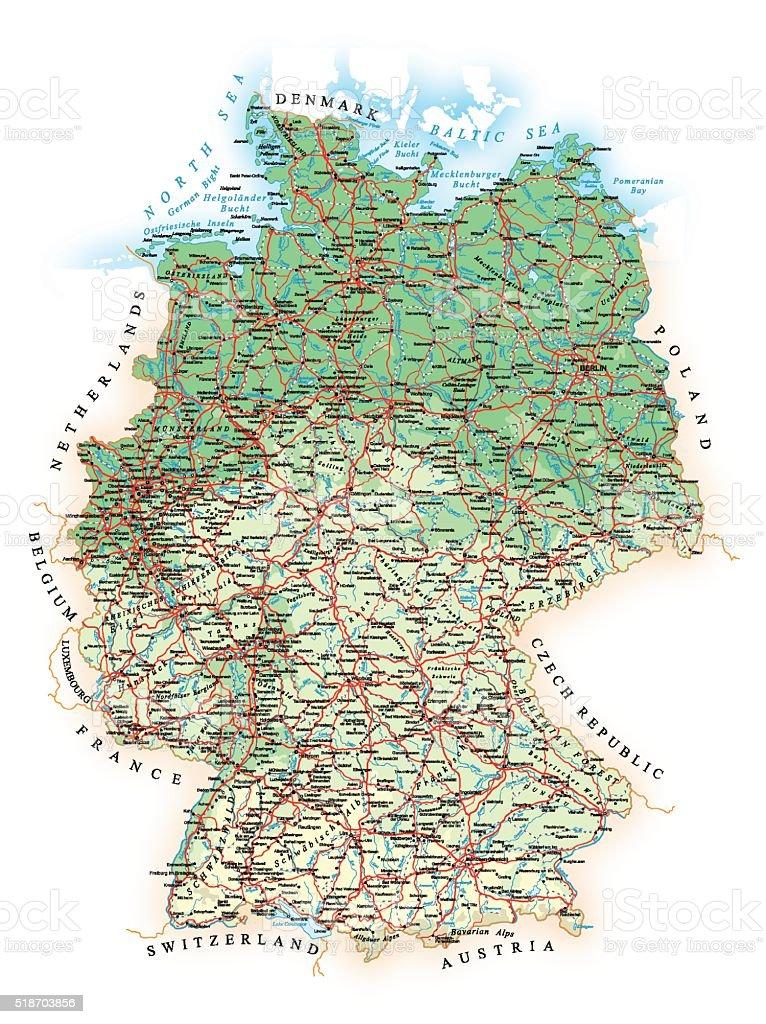 bahngleise deutschland karte Deutschlanddetaillierte Topografische Karten Karteillustration