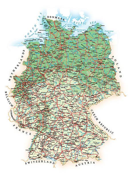 Alemania-Programación levantamiento topográfico mapa-Ilustración - ilustración de arte vectorial