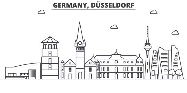 deutschland, düsseldorf architektur linie skyline abbildung. linearer vektor stadtbild mit berühmten sehenswürdigkeiten, sehenswürdigkeiten der stadt, design-ikonen. editierbare striche - düsseldorf stock-grafiken, -clipart, -cartoons und -symbole