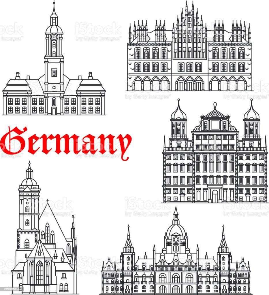 Deutschland berühmte Architektur Gebäude Vektor-icons – Vektorgrafik