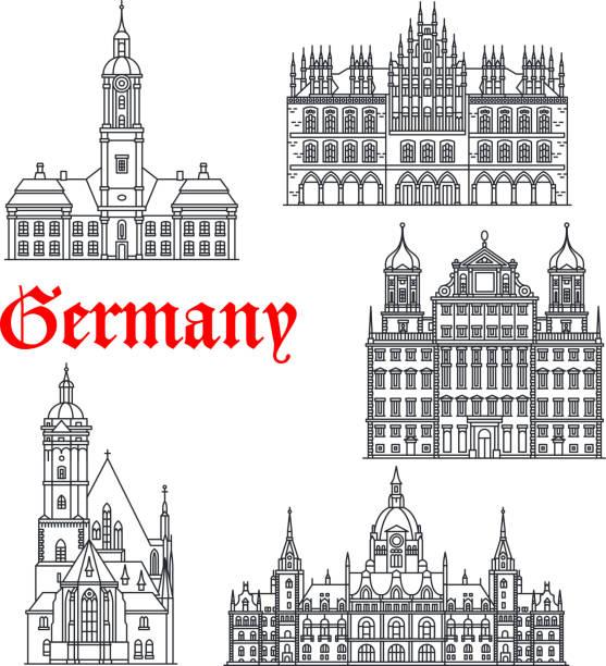 deutschland berühmte architektur gebäude vektor-icons - hannover stock-grafiken, -clipart, -cartoons und -symbole