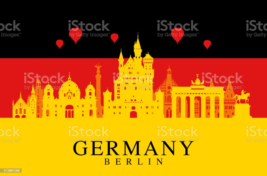Germany flag, Berlin travel landmark. vector art illustration
