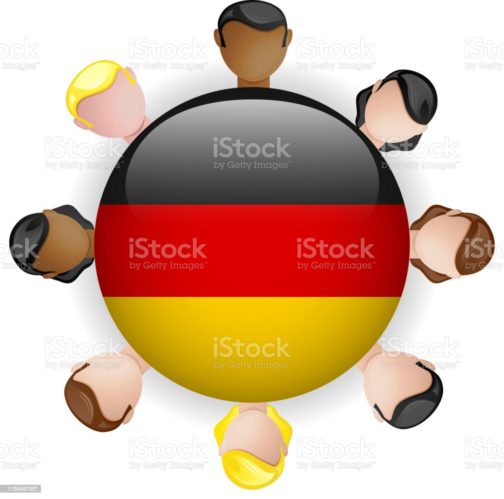 Germany Flag Glossy Button with People royalty-free stock vector art