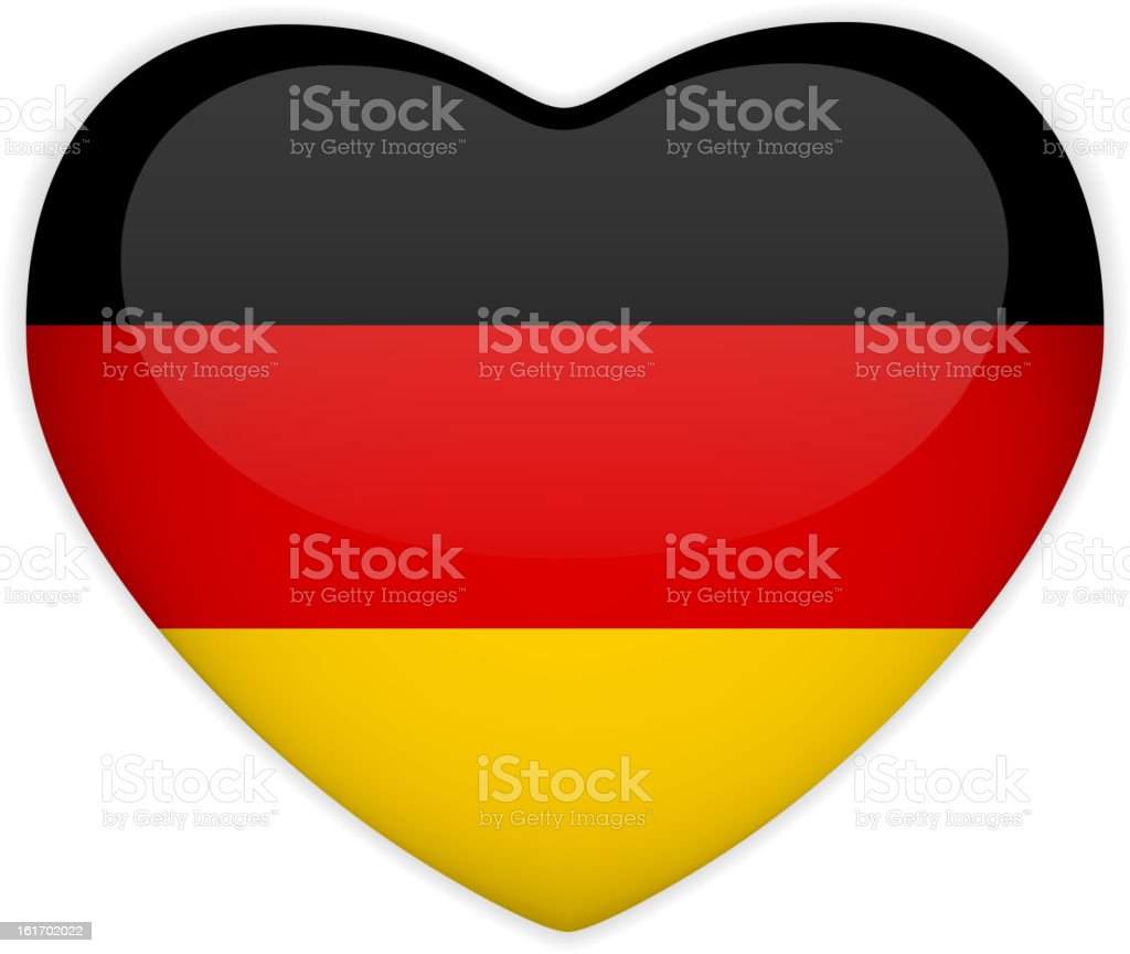 Germany Flag Heart Glossy Button royalty-free stock vector art