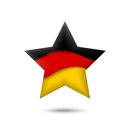 Germany flag icon in the shape of star. Waving in the wind. Abstract waving germany flag. German tricolor. Paper cut style. Vector symbol, icon, button