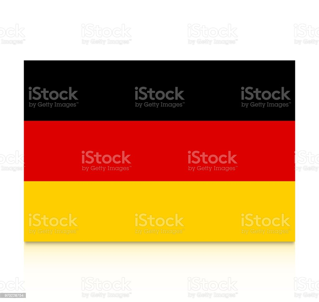 Germany flag icon with reflection isolated on white background. vector art illustration