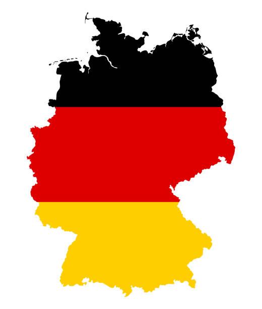 ilustraciones, imágenes clip art, dibujos animados e iconos de stock de bandera de alemania en la silueta del país - bandera alemana
